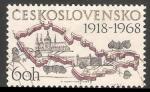 Sellos del Mundo : Europa : Checoslovaquia : Mapa de Checoslovaquia