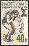 Sellos de Europa - Checoslovaquia -  Campeonato europeo de atletismo - lanzamiento de bola
