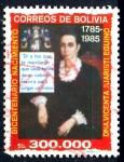 Stamps Bolivia -  BOLIVIA_SCOTT 718.01 BICENT. Dª VICENTA JUARISTI, HEROINA INDEPENDENCIA. $0.50