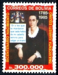 Stamps : America : Bolivia :  BOLIVIA_SCOTT 718.03 BICENT. Dª VICENTA JUARISTI, HEROINA INDEPENDENCIA. $0.50