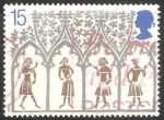 Stamps United Kingdom -  Campesinos del siglo XIV desde vitrales