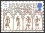 Sellos de Europa - Reino Unido -  Campesinos del siglo XIV desde vitrales