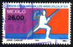 Stamps : America : Mexico :  MEXICO_SCOTT 1356.02 XXIII JUEGOS OLIMPICOS, LOS ANGELES 84, ESGRIMA. $0,20