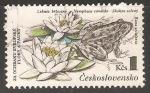Sellos de Europa - Checoslovaquia -  Flor y rana