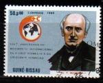 Stamps Africa - Guinea Bissau -  GUINEA BISSAU 1988 Michel 956 Sello Fundadores Cruz Roja Dr. Théodore Maunoir Usado Guine Bissau