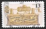 Sellos de America - Estados Unidos -  1151 - Centº de fonografo