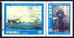 Sellos de America - Perú -  PERU_SCOTT 824a_b 150º ANIV ALMIRANTE MIGUEL GRAU_BATALLA NAVAL DE ANGAMOS. $0,90