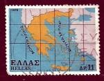 Stamps Greece -  Mapa de Grecia