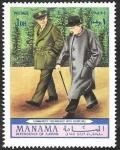 Stamps : Asia : United_Arab_Emirates :  Manama - Eisenhower y Churchill