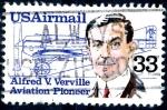 Sellos de America - Estados Unidos -  USA_SCOTT C113 ALFRED V. VERVILLE Y DIBUJO AVION. $0,2