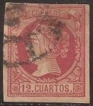 Stamps Spain -  Isabel II  1860  12 cuartos