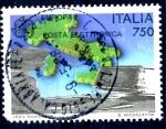 Sellos de Europa - Italia -  ITALIA_SCOTT 1736 CORREO ELECTRONICO, MAPA DE ITALIA. $0,85