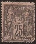 de Europa - Francia -  Paz y Mercurio  1877  25 cents
