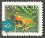 Stamps Australia -  Orange thighed tree frog