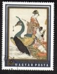 Stamps Hungary -  Geisha en barco de Yeishi