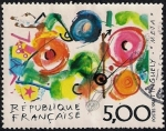 Stamps France -  Serie artística. Francés-Suizo problema común. Pintura de Tinguely