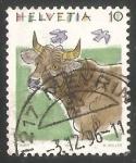Sellos de Europa - Suiza -  Cattle (Bos primigenius taurus)