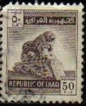 Stamps Asia - Iraq -  IRAK 1962 Scott 327 Sello Estatuas León de Babilonia Usado