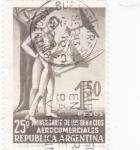 Stamps : America : Argentina :  25º ANIVERSARIO SERVICIOS AEROCOMERCIALES