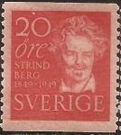 Sellos del Mundo : Europa : Suecia : August Strindberg  1949  20 öre