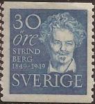 Sellos del Mundo : Europa : Suecia : August Strindberg  1949  30 öre