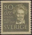 Sellos del Mundo : Europa : Suecia : August Strindberg  1949  80 öre