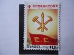 Stamps North Korea -  Bandera