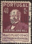 Sellos de Europa - Portugal -  Centenario del Sello Postal. Sir Rowland Hill   1940  40 cents