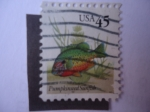 Stamps United States -  pumpkinseed Sunfish.