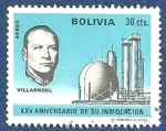 Stamps Bolivia -  BOLIVIA XXV aniversario Villarroel 0.30 aéreo (1)