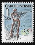 Stamps Czechoslovakia -  Biathlon - XVI. Winter Olympics Albertville