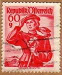 Sellos de Europa - Austria -  TRAJE REGIONAL FEMENINO –KARNTEN-LAVANTTAL