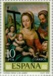 Stamps Spain -  PINTORES-Juan de Juanes Sagrada Familia