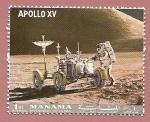 Sellos de Asia - Emiratos Árabes Unidos -  MANAMA  depend. of AJMAN - Apollo XV - Astronauta y Rover Lunar LRV