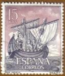 Stamps : Europe : Spain :  Homenaje Marina Española - Nave Medieval