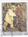 Sellos del Mundo : Africa : Somalia : Pierrot y arlequín- Paul Cezanne