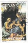 Stamps Guyana -  pintura de Raphael- Navidad-91