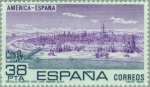 Stamps : Europe : Spain :  AMÉRICA-ESPAÑA (Sevilla puerto con las indias S.XVI. - Francisco Palomo)