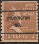 Stamps : America : United_States :  Marta Washington  1938 1 1/2 centavos  perf 10 vertical