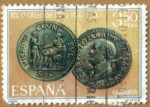 Stamps Spain -  Centenario Fundacion de Leon - Moneda de Galva