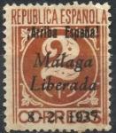 Stamps : Europe : Spain :  ESPAÑA_SCOTT 10L5 EMISION PATRIOTICA MALAGA. $0,2
