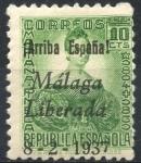 Stamps : Europe : Spain :  ESPAÑA_SCOTT 10L8 EMISION PATRIOTICA MALAGA. $0,3