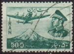 Stamps Iran -  IRAN 1953 Scott C68 Sello Correo Aereo Avión sobre Mte. Demavend y retrato Militar Mohammad Reza Sha
