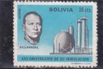 Stamps : America : Bolivia :  Villarroel XXV Aniversario de su inmolación