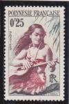 Sellos de Oceania - Polynesia -  joven nativa