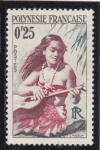 Stamps Polynesia -  joven nativa