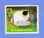 Stamps Africa - Equatorial Guinea -    PEZ  MARIPOSA  MANCHA