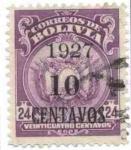 Stamps Bolivia -  Escudo de 1919 y 1923 sobrecargados