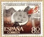 Sellos de Europa - España -  Centenario de San Sebastian - Incendio de la Ciudad