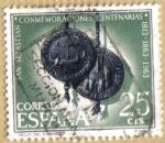 Stamps Spain -  Centenario de San Sebastian - Sello del Concejo